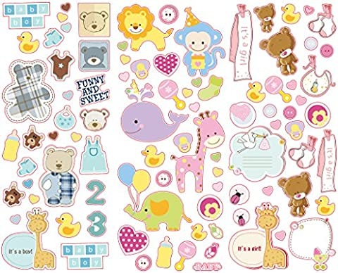 Polaroid Colorful & Decorative Baby Stickers for Zink 2x3 Photo Paper Projects (Snap, Zip, Z2300) - 3 Unique