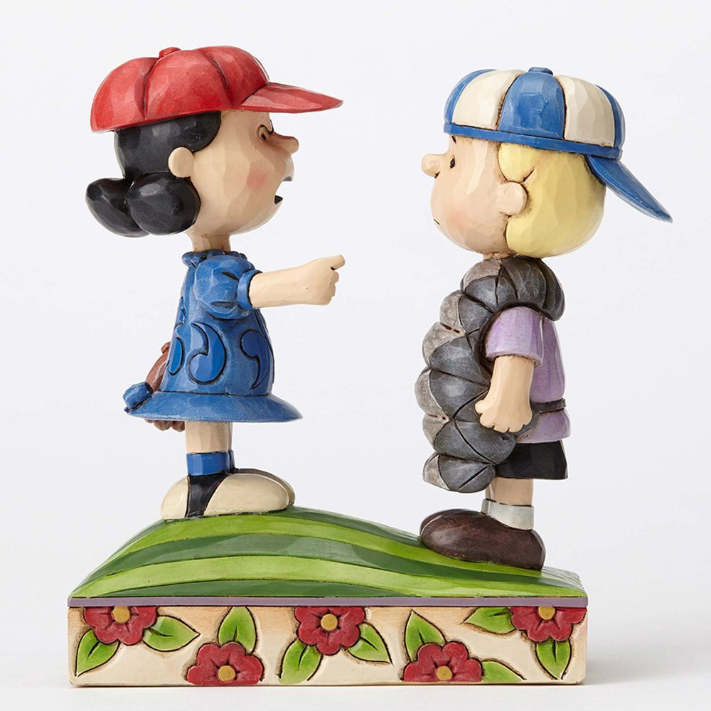 Peanuts by Jim Shore Baseball Schroeder and Lucy Stone Resin Figurine, 6