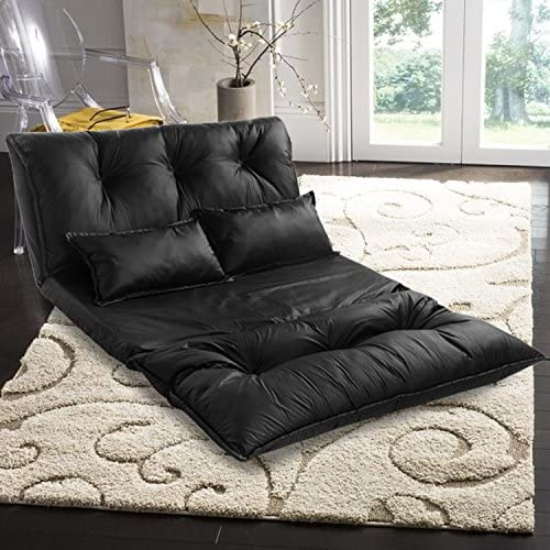 Adjustable Floor Sofa Bed PU Leather Leisure Bed, Folding Floor Couch Lounge Lazy Sofa with 5-Position, Floor Video Gaming Sofa Bed with 2 Pillows, Black