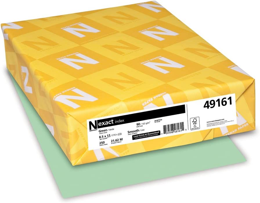 Neenah Wausau Paper Index Card Stock, 90 lb, Letter, Pastel Green, 250 Sheets per Pack (49161), 8 1/2 x 11