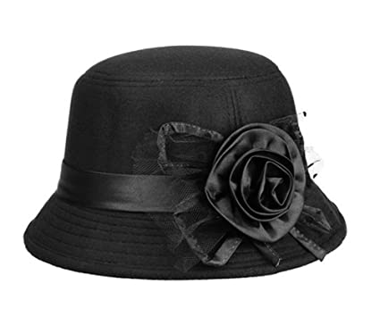 99c03f8a06e Image Unavailable. Image not available for. Color  Fashion Elegant Fedora  Cloche Flower Rose Bucket Winter Hat Headwear for Women Ladies Black