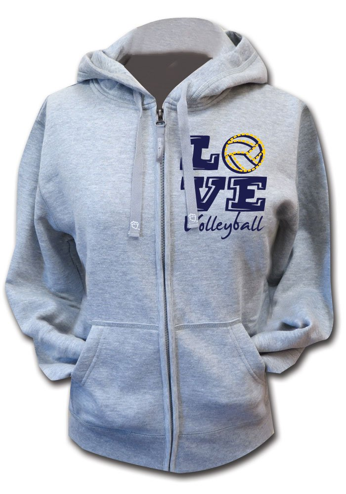 Sports Katz Big Girls 'Love' Volleyball Zip Hoodie Heather Gray Youth Large