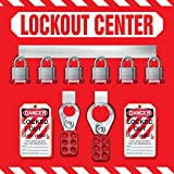 Accuform Signs KST814 STOPOUT Lockout Store-Board with Kit, 6-Padlock, 14'' Length x 14'' Width, Aluminum, Includes 6 Steel Padlocks with 3/4'' Shackle, 10 HS-Laminate Lockout Tags, 10 Plastic Ties, 1 Scissor Hasp with 1'' Opening, 1 Scissor Hasp with 1-1/2''