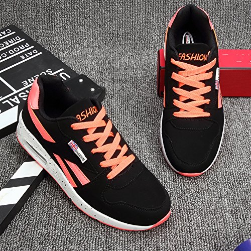 Inconnu Baskets Femme Mode Chaussure Basse Outdoor Plat Rond Chaussure Air Sport Course Fitness Gym Sneakers Noir Orange 37 fJ1vl