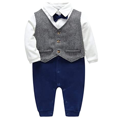 e4db59e81a79 LQZ Baby Boys Outfits Clothes Wedding Gentleman Romper Jumpsuit ...