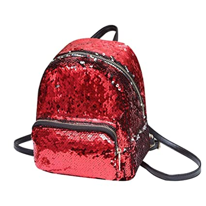 032b1280b0 Vacally Girl Sequins Leather School Backpack Satchel Women Travel Shoulder  Bag (Red)