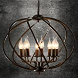 Industrial Adjustable Wrought Iron Vintage Retro Pendant Light - LITFAD 22'' Edison Metal Globe Shade Hanging Ceiling Light Cage Chandelier Pendant Lamp Fixture Black Finish with 8 Lights