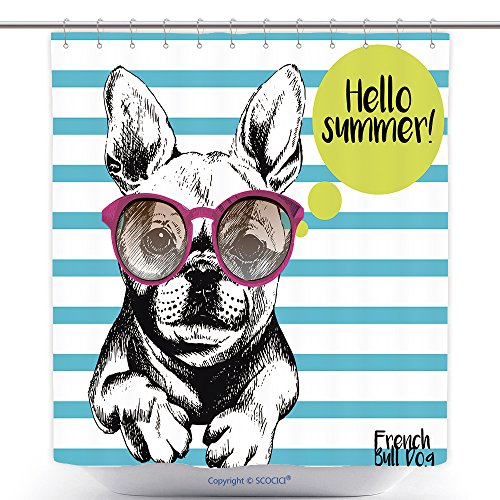 vanfan-Cool Shower Curtains Close Up Portrait Of French Bulldog Wearing The Sunglasses Bright Hello Summer French Bulldog Polyester Bathroom Shower Curtain Set With Hooks(70 x 92 - Qvc Sunglasses