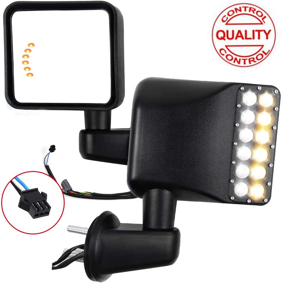 TUPARTS Tow Mirrors Towing Mirrors Fit For Jeep Wrangler 2007-2017 with Manual Adjustment Turn Signal Light with Lens with LED Light Driver Side and Passenger Side