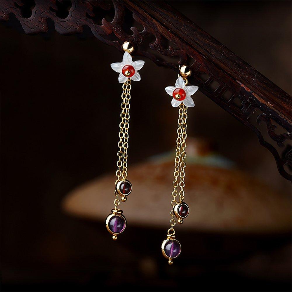 VEINTI+1 Original Design Simple Style Amethyst Beads with Flower Design Women//Girls Trendy Earrings//Ear Clips