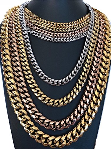 """14k Gold Plated Mens Heavy Stainless Steel Miami Cuban Link Necklace Chain 30/"""""""