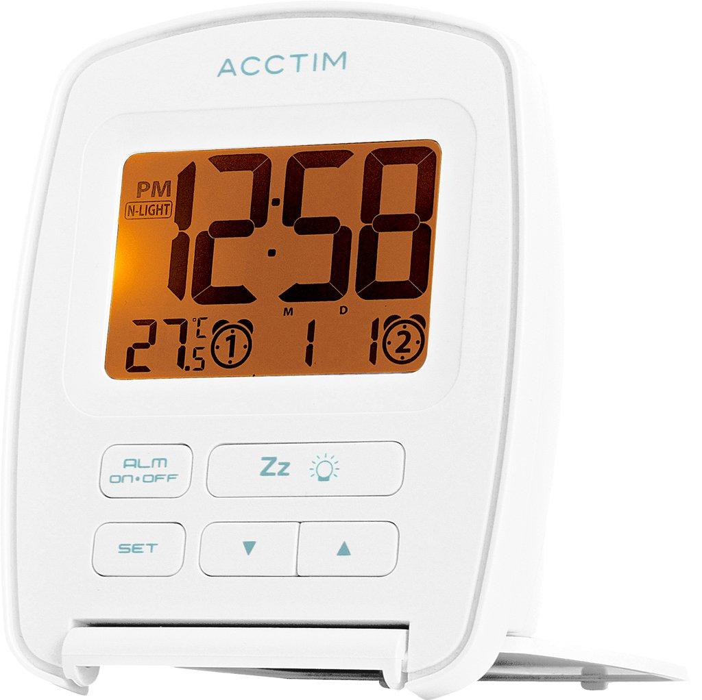 Acctim 15512 Erebus Nightglow LCD Travel Alarm Clock in White