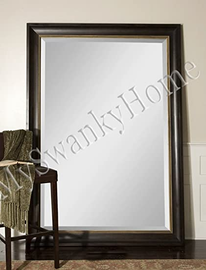 Extra Large 82u0026quot; Wall Mirror Dark Wood XL Full Length Floor Leaner