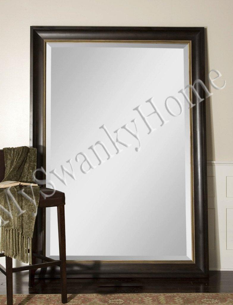 Extra Large 82'' Wall Mirror Dark Wood XL Full Length Floor Leaner