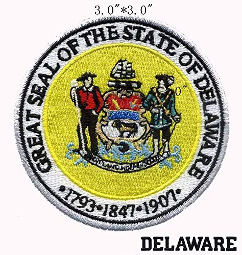Delaware State Seal 3inch Diameter Embroidered Embroidery Needlework Sewing Patch Patchwork for Flower Fabric/Two People/Phone Number