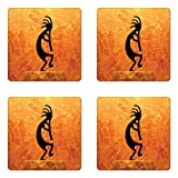 Lunarable Kokopelli Coaster Set of Four, Kokopelli Southwestern Style Native American Eastern Ancient Belief Picture Art, Square Hardboard Gloss Coasters for Drinks, Orange Black