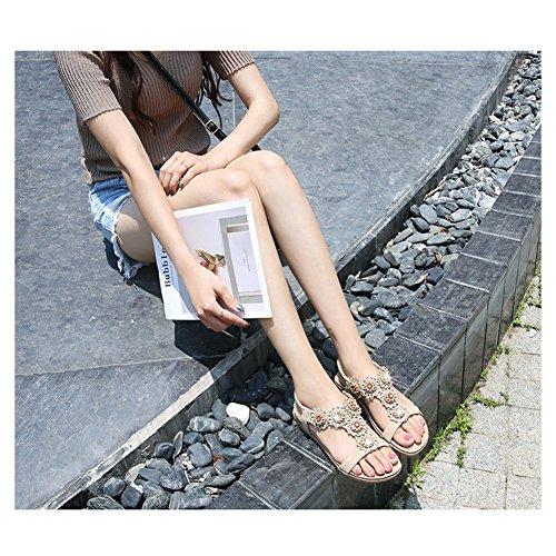 41 PU Sandals Scarpe Sandali Sandali Estivi Donna Sandals happygo Elegante Aperte Sandals 35 Bassi Cuoio Bohemia Albicocca Basse 6Razc4xqw