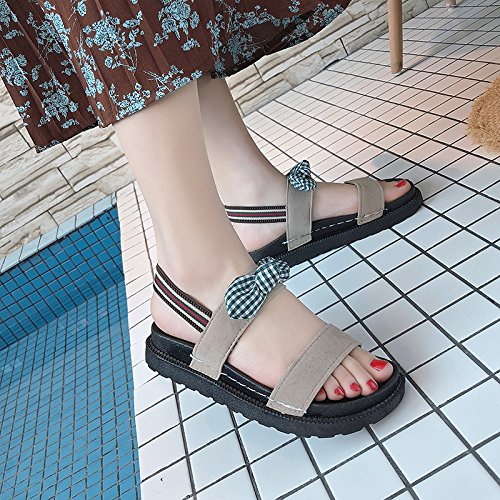 Moda Casual Sandalias Playa pies Calzado Antideslizante los Aire al de Viaje YMFIE de Pajarita b Señoras de Verano Libre XCq5YH