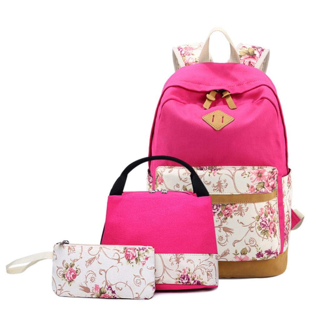 Boy Girl Backpack, Flower Printing Canvas School Backpack Set 3 Pieces Lightweight Teen School Bag Girls Bookbags 17x12 Inch by Boris Felix
