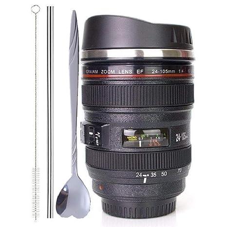 Amazon.com: Taza de café, lentes de cámara con tapa de ...
