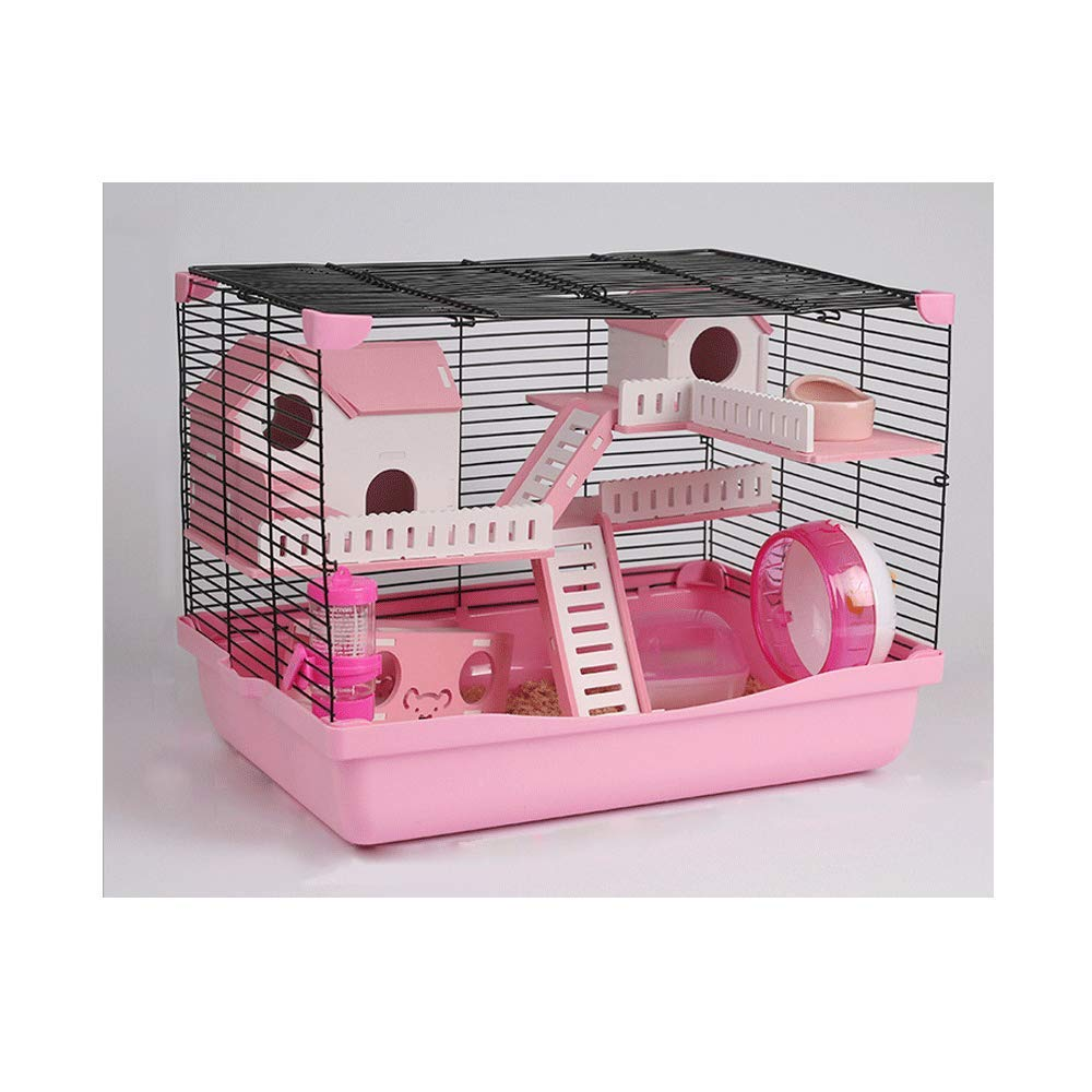 Pink-12p TIKEN Hamster Cage Feeding Station Habitat Portable Gerbils Mice Home Mouse House Provides Your Pet With An Entertaining Playground,Pink-12P