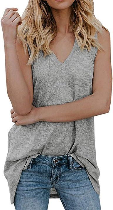 YAOSHENG - Camiseta de Tirantes Holgada de algodón para Mujer, Talla XL, Color Gris: Amazon.es: Ropa y accesorios