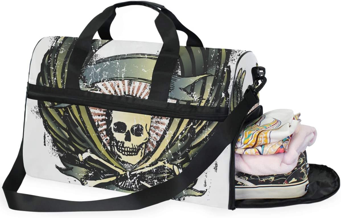 FANTAZIO Worn Out Skull Sports Bag Packable Travel Duffle Bag Lightweight Water Resistant Tear Resistant