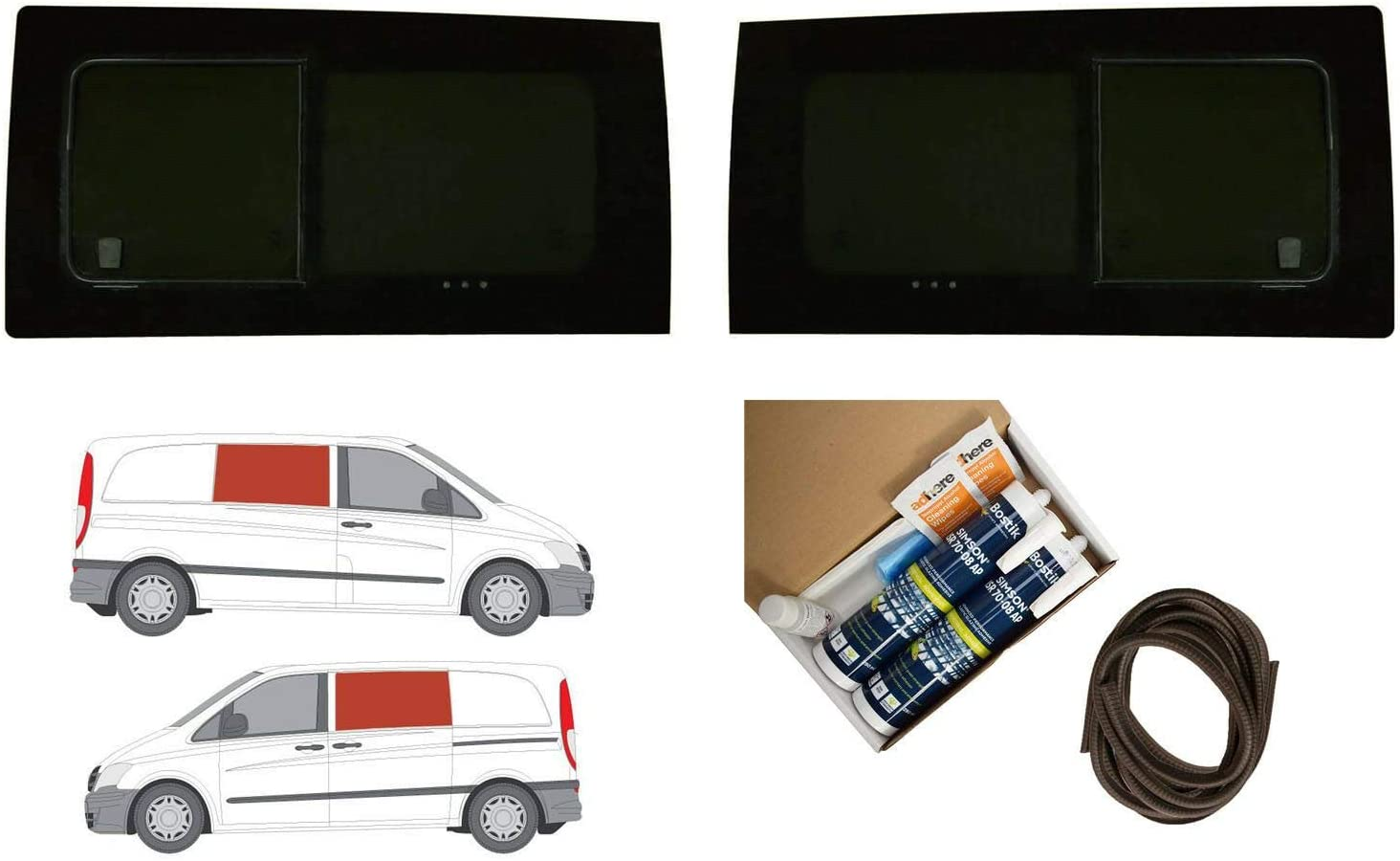 Mano izquierda y derecha, tintado oscuro Kit de ventana de apertura doble Mercedes Vito (2003 – 2014): Amazon.es: Coche y moto