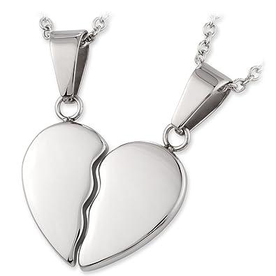 Partneranhänger mit Halskette Edelstahl geteiltes Herz mit Gravur 45 und 50 cm