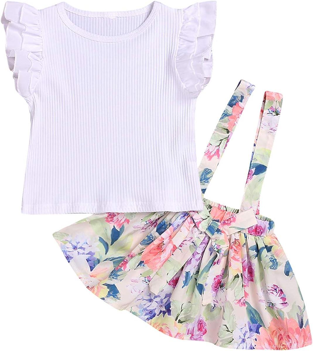 Tianhaik Conjunto de Falda de Tirantes para niñas pequeñas, con ...