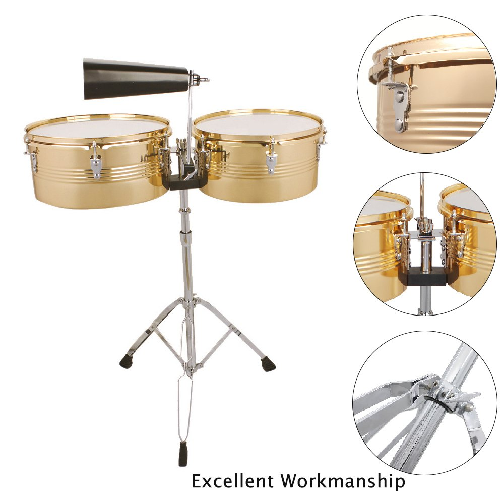 Glarry 13''&14'' Timbales 2 Sets Latin Percussion with Stand and Cowbell Golden by Glarry