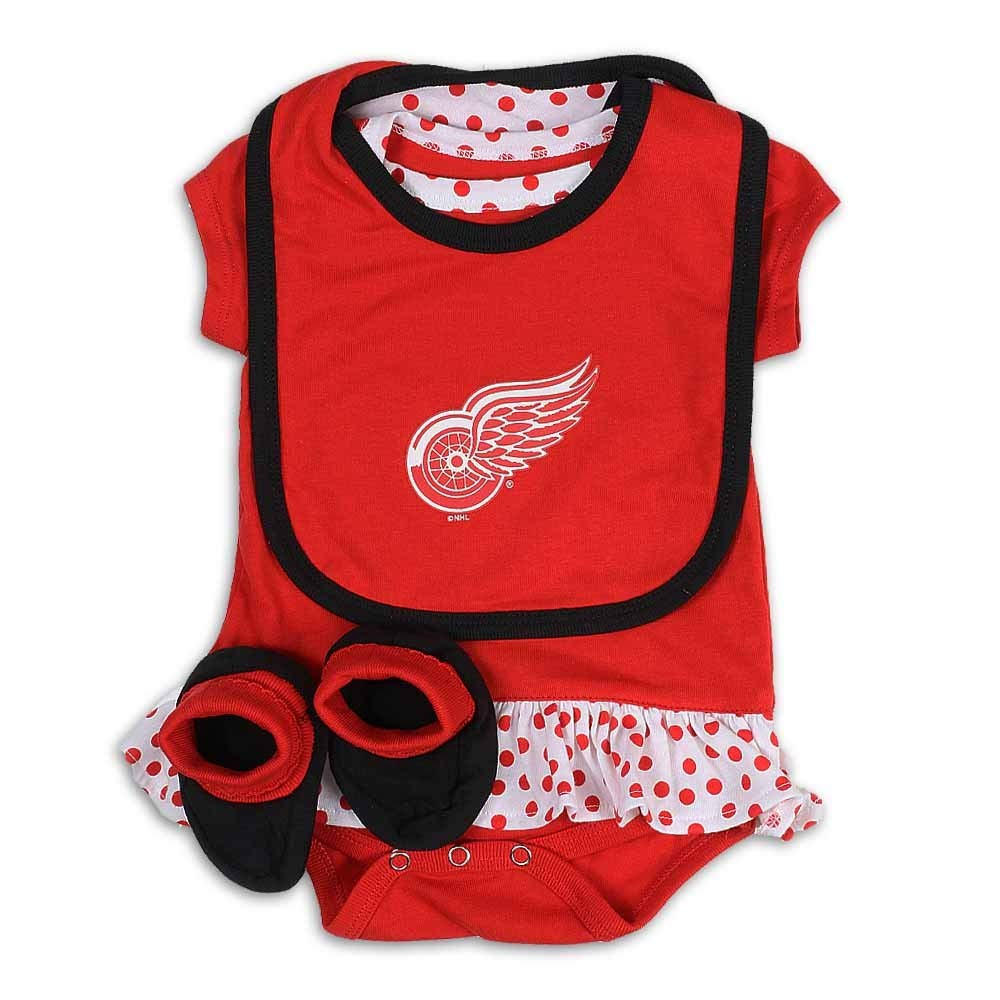 Detroit Red Wings Newborn/Infant Girl's 2016 Bodysuit, Bib, Bootie Set, Red, Infant 24 Months by Detroit Athletic Co