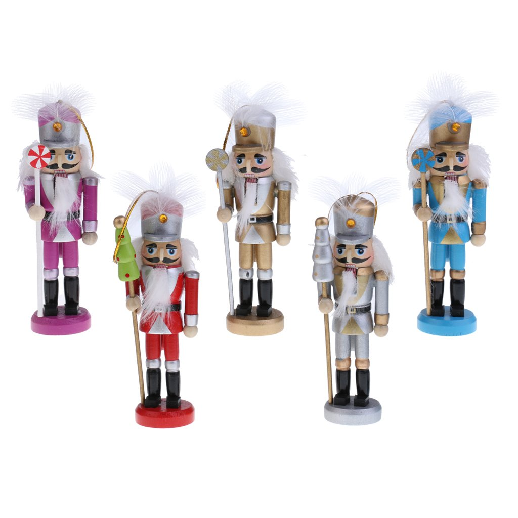 Dovewill 5Pcs Per Set Christmas Decorations Nutcrackers Wooden Soldier Puppets 13cm Wood Novelty Decorative Ornaments Home Decor Kids Birthday Gifts