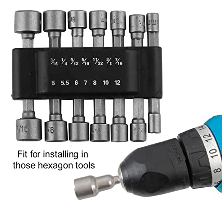 """Magnetic Nut Drivers 1//4/"""" Shank 8pc Cordless /& Power Drills Drivers 6-13mm"""