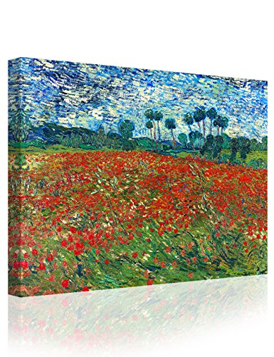 IPIC - Poppy Field Floral Vintage, Vincent Van Gogh Art Reproduction. Giclee Canvas Prints Wall Art for Home Decor 24#F(30X24) ()