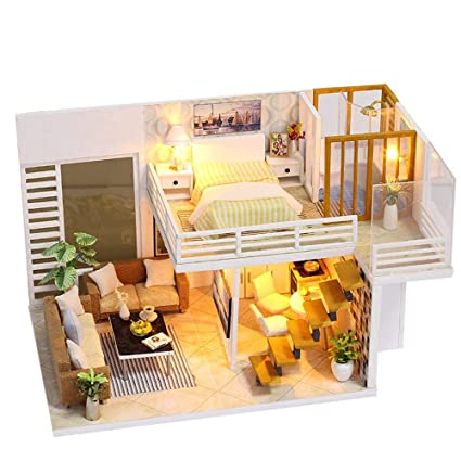 Amazon com: Huikai DIY Dollhouse Wooden Miniature Furniture