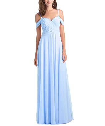Geshun Chiffon Off The Shoulder Ruched Blue Bridesmaid Dresses Long Formal Prom Dress For Women US2