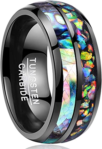 8MM Wide Polished Abalone Shell tungsten carbide ring Dome Triple Grooved opal T