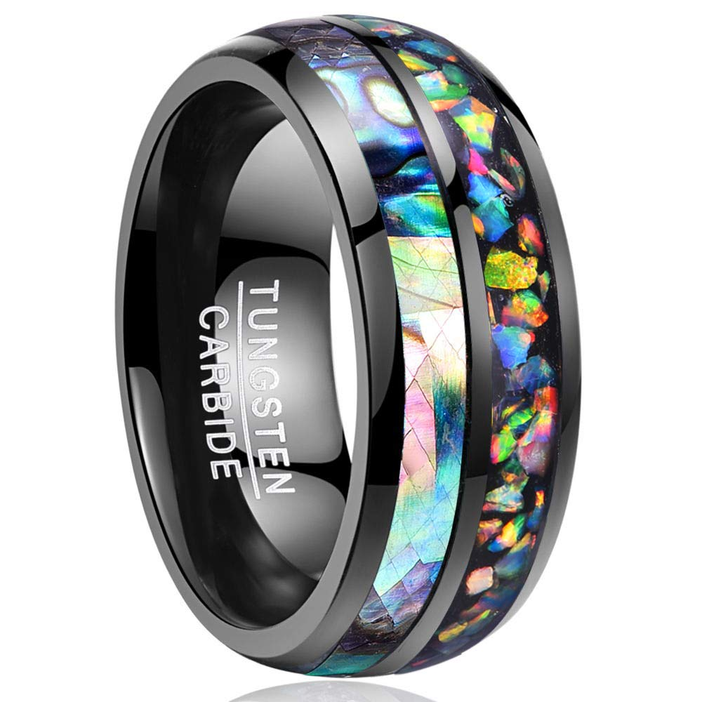 Nuncad 8mm Abalone Shell Genuine Opal Black Tungsten Caibide Wedding Ring Band for Men and Women Size N½ to X½