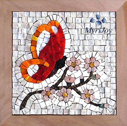 "Original gift ideas Mosaic art kit Four Seasons Spring 9""x9""/Italian marble mosaic tiles & Murano glass mosaic tiles/Mosaic supplies/Arts and crafts for adults/Mosaic making kit from MyriJoy"