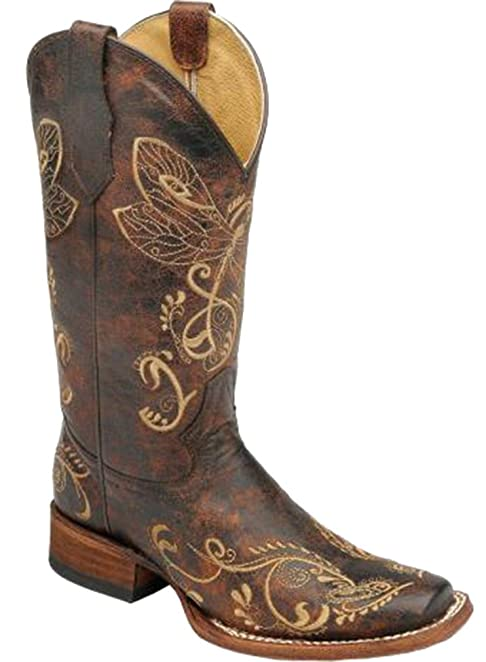 Corral Women's Distressed Bone Dragonfly Embroidered Square Toe Western Boot