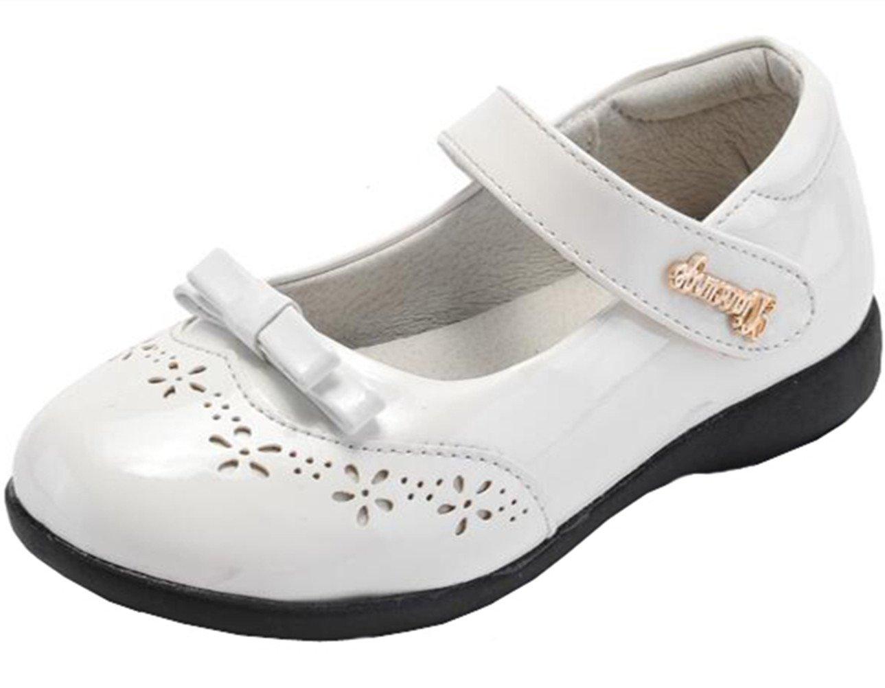 DADAWEN Girl's Mary Jane Strap School Uniform Shoe (Toddler/Little Kid/Big Kid) White US Size 3 M Little Kid