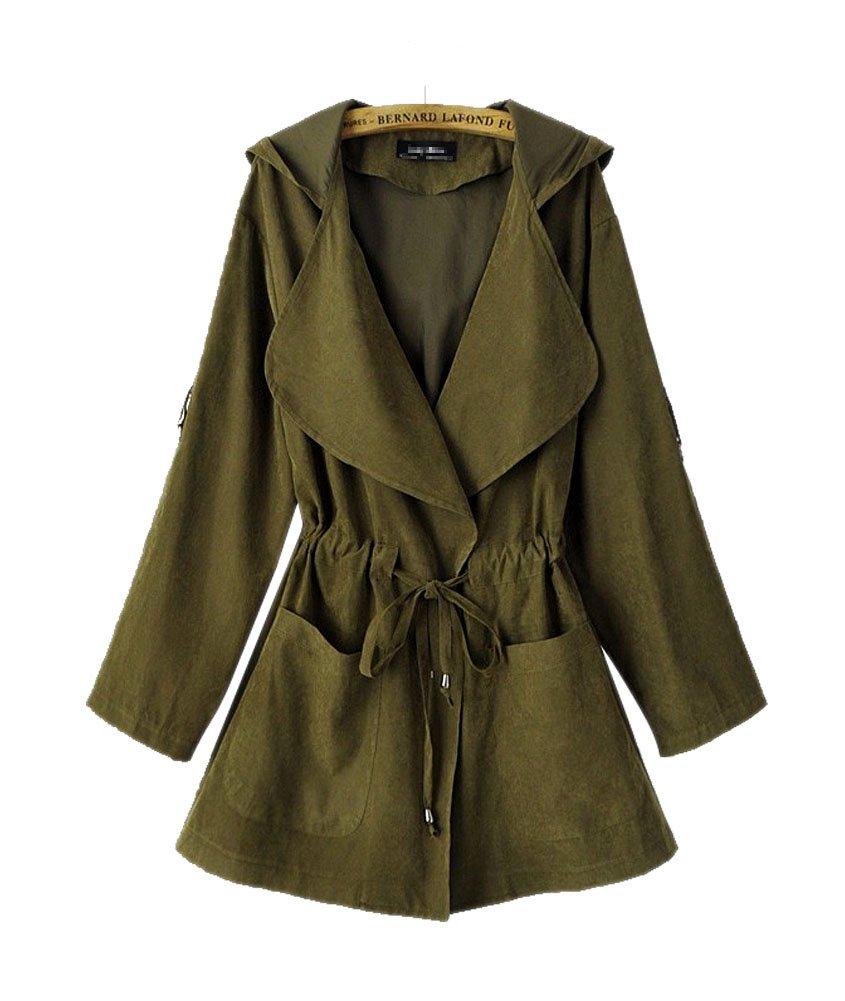 ARJOSA Women's Lightweight Pockets Drawstring Hooded Overcoat Jacket Outerwear (Small, Olive Green)