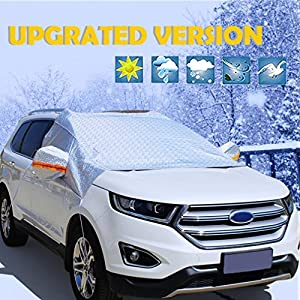 [THREE LAYERS] Windshield Snow Cover , Waterproof Frost Snow Ice Shield for Windshield, Snow Windshield Cover Frost Ice Protector, Aluminum Foil Mirror Snow Covers,for SUV,Truck,Cars, silver