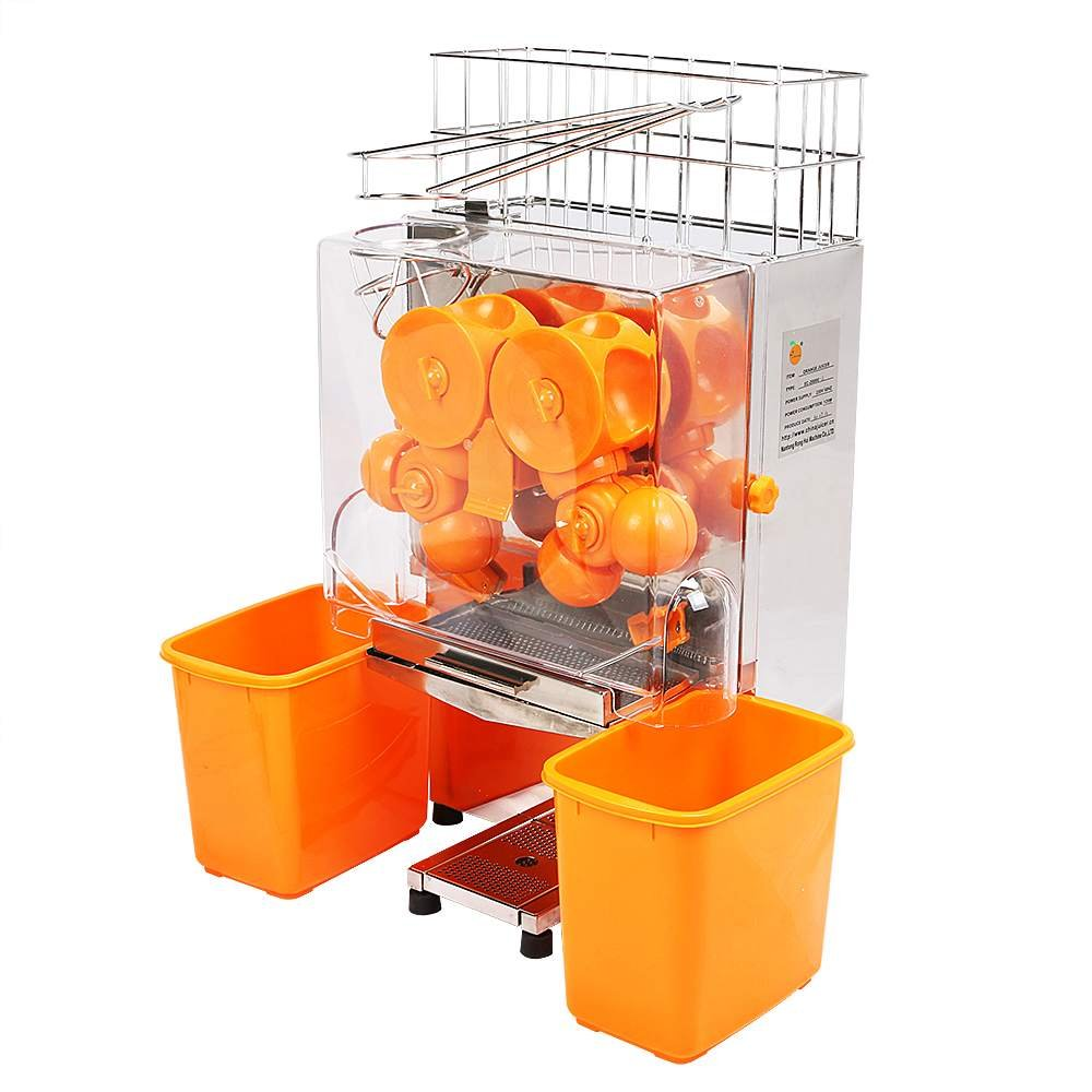OrangeA Orange Juicer Orange Squeezer Machine Citrus Juicer Electric Fruit Juicer Machine Citrus Lemon Lime Automatic Auto Feed Commercial Stainless Steel (Orange Plastic Tanks)