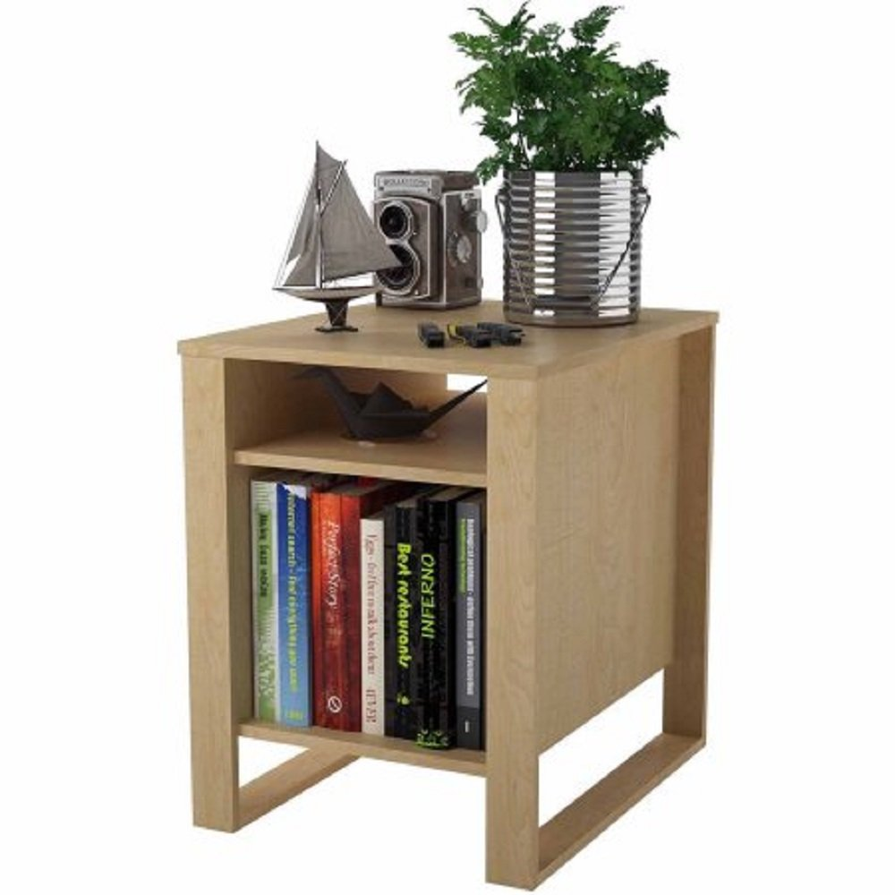 Amazon: Side End Table Living Room Home Wood Home Furniture Decor  Coffee 2 Shelves Books Storageanizer Lightes In Sycamore Maple  Assembly