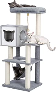 Made4Pets 52 Inches Multi-Level Cat Tree Modern Cat Activity Tower with Sisal Scratching Posts, Hammock and Extra-Large Top Perch
