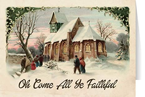 Amazon.com  Vintage Church in Snow Christmas Cards (box of