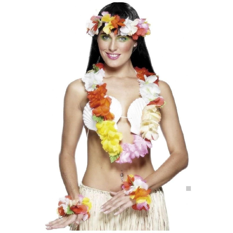 Amazon deluxe hawaiian lei set with matching flower headband amazon deluxe hawaiian lei set with matching flower headband and wristbands clothing izmirmasajfo