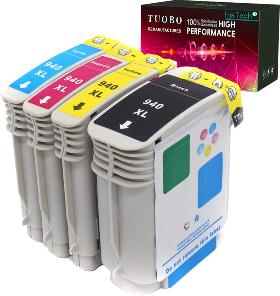 Tuobo Compatible Ink Cartridge Replacement for 940 940XL High Yield Work with Officejet Pro 8000 8500 8500A 8500A Plus Printers 1BK+1C+1M+1Y